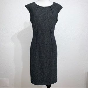 Connected Apparel Cap Sleeve Belted Dress Pleated
